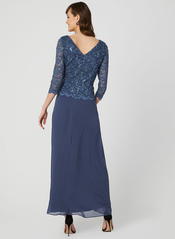 Lace Sequin Popover Dress, Blue, hi-res