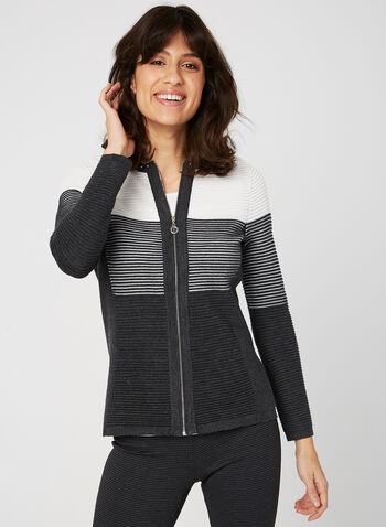 Stripe Print Zip Up Cardigan, Grey, hi-res