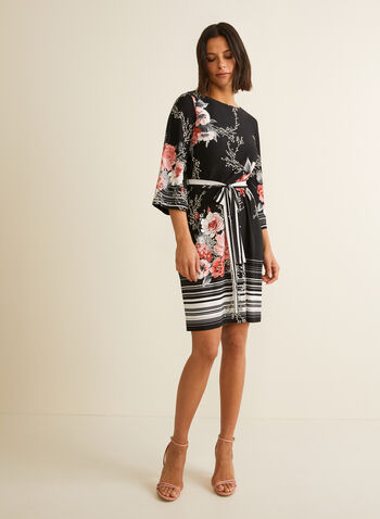 Floral Print Angel Sleeve Dress, Black,  day dress, floral, angel sleeves, 3/4 sleeves, ribbon, cinched, jersey, spring summer 2020