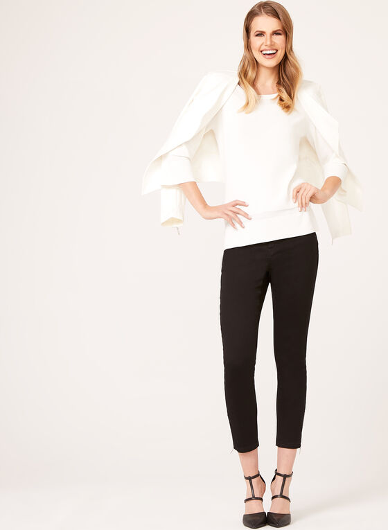 Embossed Effect Knit Sweater, Off White, hi-res