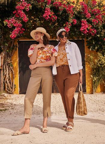 Wide Leg Capri Pants, Off White,  spring summer 2021, pants, capri, capris, belt, tie detail, knot, knotted, slits, short, linen, belt, front pockets