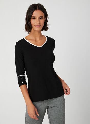 ¾ Sleeve Crepe Top, Black, hi-res,  crepe blouse