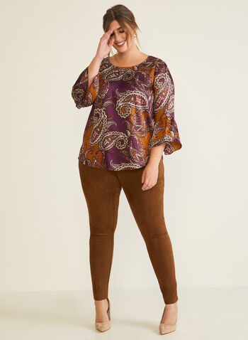 Faux Suede Leggings, Brown,  pants, leggings, pull-on, faux suede, fall winter 2020