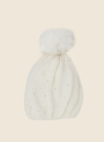 Removable Pom Pom Rhinestone Hat, White,  fall winter 2020, faux fur, hat, knit, pompom, removable, crystals, accessories