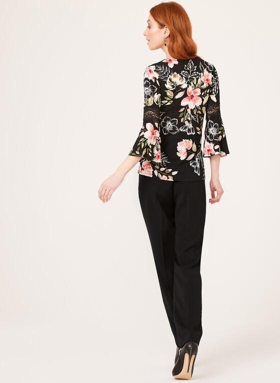 Angel Sleeve Floral Print Blouse, Black, hi-res