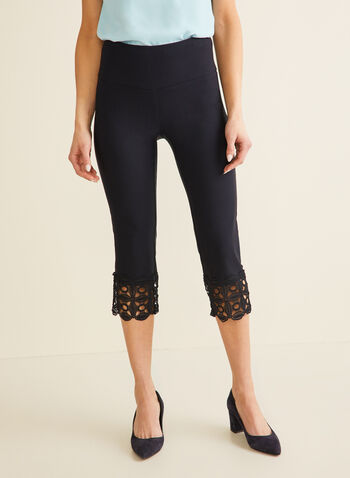 Crochet Detail Capri Pants, Blue,  pants, capri, pull-on, slim leg, crochet, stretchy, bengaline, spring summer 2020