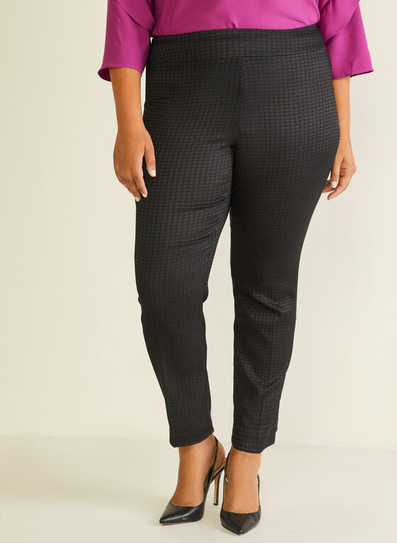 Geometric Print Pull-On Pants, Black