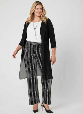 Stripe Print Wide Leg Pants, Black, hi-res,  pull-on, jersey, palazzo pants, spring 2019