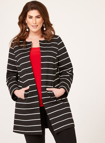 Long Open Front Stripe Print Blazer, Black, hi-res