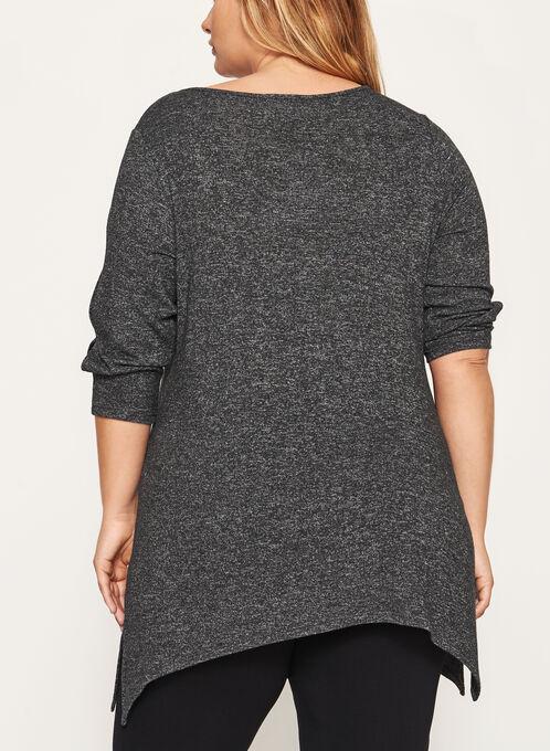 Tunique douceur en tricot à manches 3/4 ajourées, Gris, hi-res