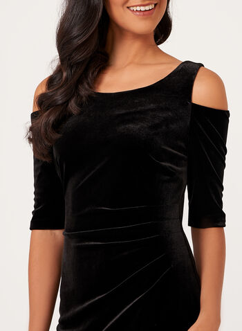 Cold Shoulder Velvet Dress , Black, hi-res