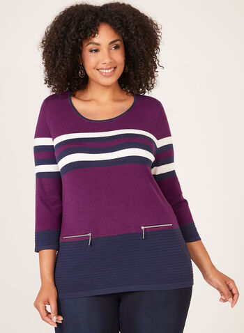 Stripe Print Ribbed Detail Sweater, Purple, hi-res