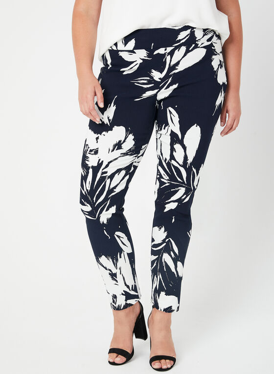 Joseph Ribkoff - Pantalon coupe moderne à fleurs, Bleu, hi-res