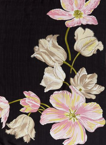Tulip Print Scarf , Black, hi-res