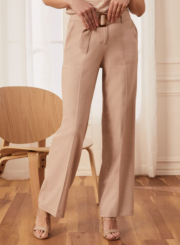Modern Fit Wide Leg Pants, Off White,  Spring summer 2021, pants, modern fit, wide leg, belt, buckle, zip front closure, stretchy