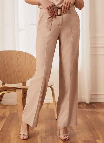Pantalon coupe moderne à jambe large, Blanc cassé,  pantalon, coupe moderne, jambe large, taille élastique, poches, pinces, fermeture éclair, attaches, surpiqûres, ceinture, printemps été 2021