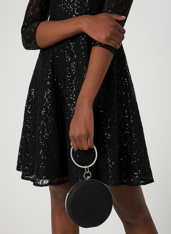 Sequin Lace Fit & Flare Dress, Black