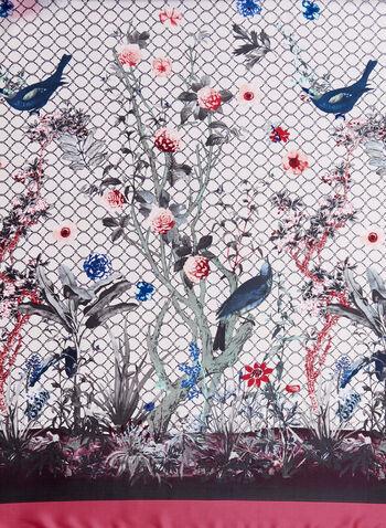 Floral Bird Print Scarf, Pink, hi-res