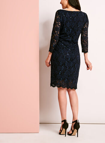 ¾ Sleeve Sequined Lace Dress, Blue, hi-res