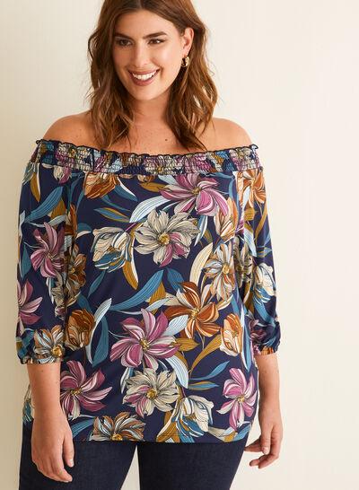 Floral Print Off-The-Shoulder Top