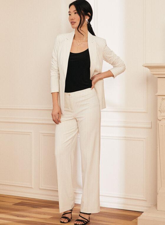 Striped One-Button Closure Jacket, White