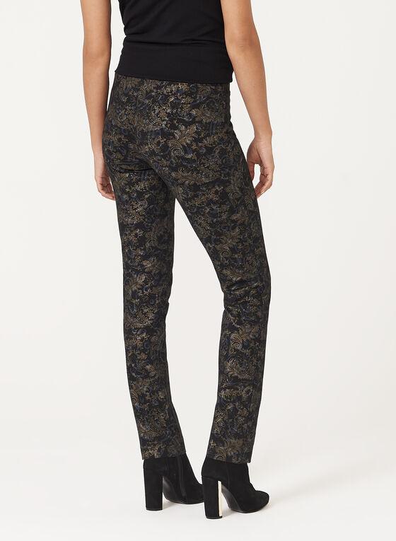 Pantalon pull-on jambe étroite à motif métallique, Noir, hi-res