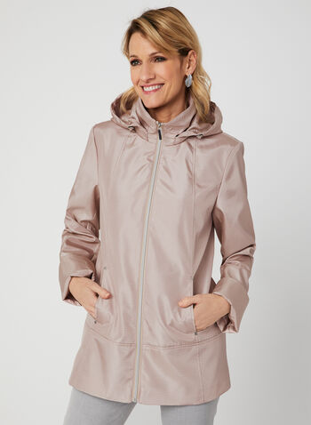 A-Line Raincoat, Pink, hi-res,  spring 2019, stand collar, removable hood, water resistant
