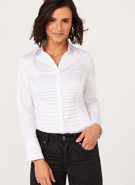 Pleated Long Sleeve Blouse, White