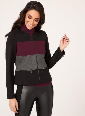 Colour Block Ponte Jacket , Black, hi-res