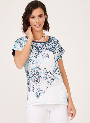 Abstract Print Boat Neck T-Shirt, Blue, hi-res
