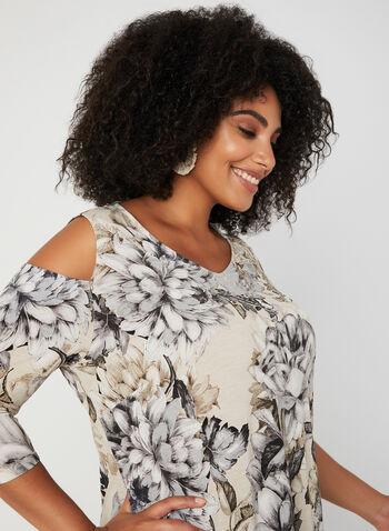 Haut fleuri à épaules ajourées, Gris, hi-res,  automne hiver 2019, motif, imprimé, haut, blouse, Canada, jersey, manches ¾, manches longues, épaules dénudées