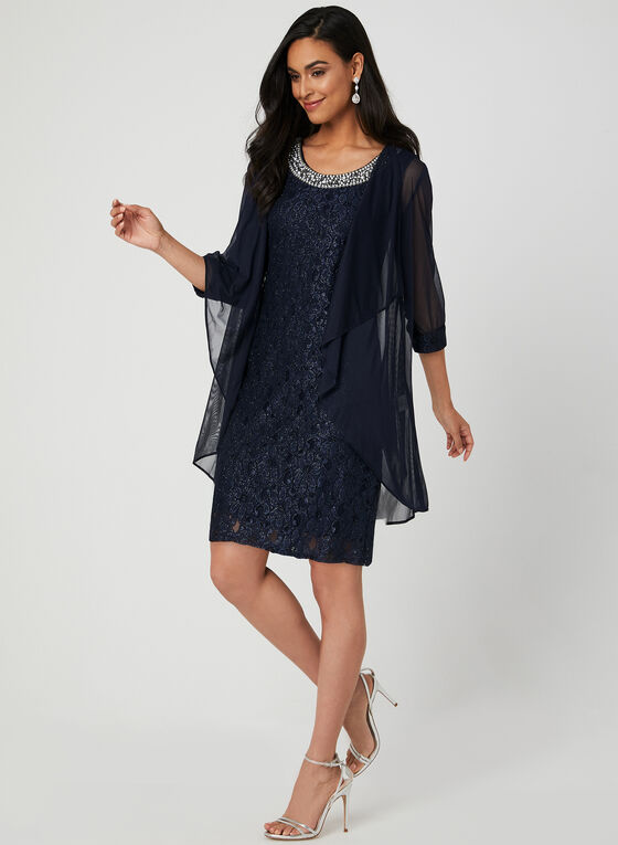 Glitter Lace Dress & Duster Set, Blue
