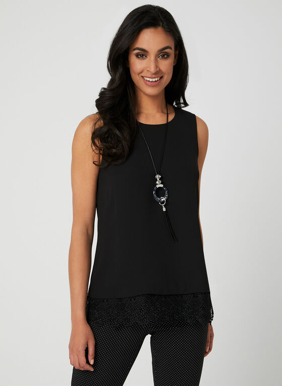 Lace Trim Sleeveless Blouse, Black, hi-res