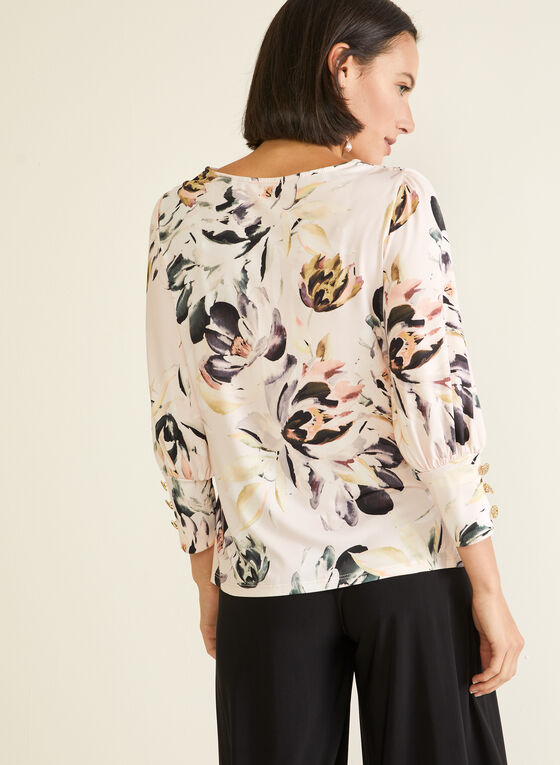 Floral Print 3/4 Sleeve Top, Purple
