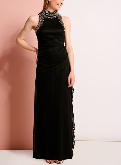 Embellished Mock Neck Gown, Black, hi-res