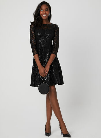 Sequin Lace Fit & Flare Dress, Black, hi-res
