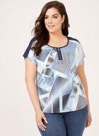 T-shirt graphique à mancherons et glissière, Bleu, hi-res