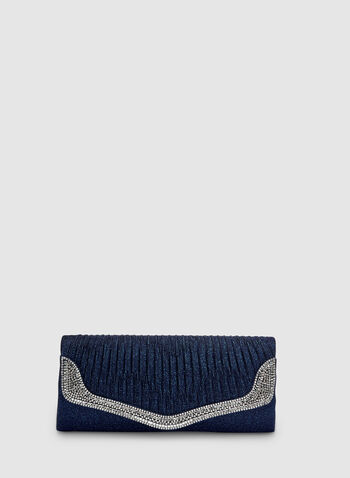 Crystal Trim Clutch, Blue, hi-res,  pleated, flapover, spring 2019