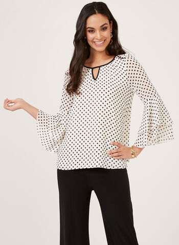 Polka Dot Print Blouse, White, hi-res