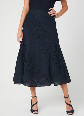 Cotton Maxi Skirt, Blue, hi-res