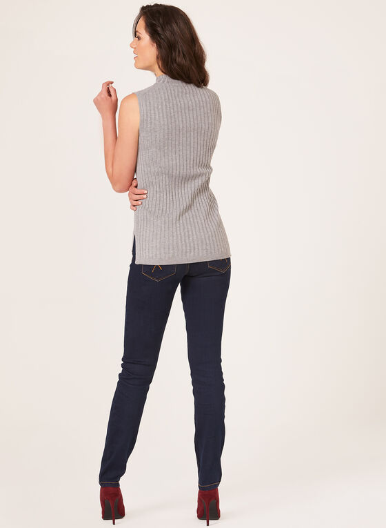 Sleeveless Ribbed Knit Top, Grey, hi-res