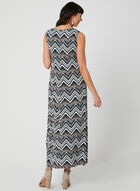 Zigzag Print Maxi Dress, Blue, hi-res