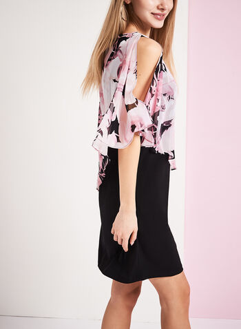 Floral Print Cold Shoulder Poncho Dress, , hi-res