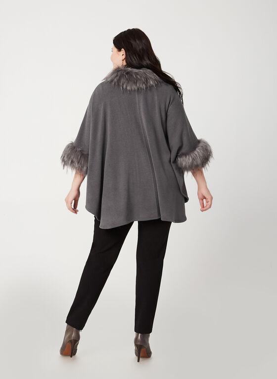 Faux-Fur Trim Knit Shawl, Grey