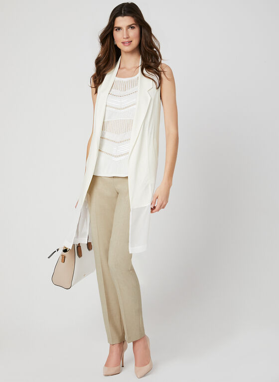 Picadilly - Sleeveless Open Front Jacket, White