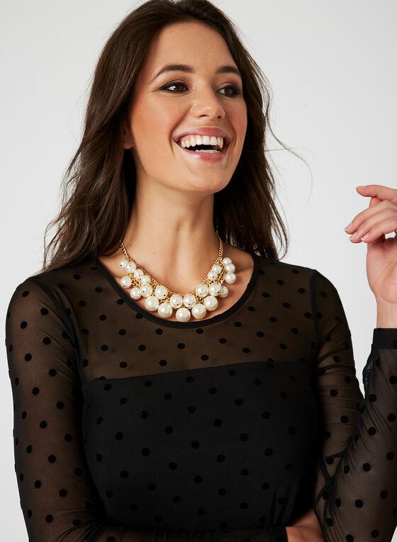 Nina Leonard - Polka Dot Print Dress, Black, hi-res