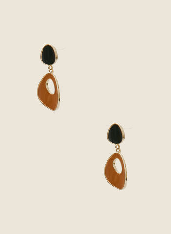 Tiered Abstract Dangle Earrings, Brown,  earrings, dangle, abstract, tiered, resin, epoxy, fall winter 2020