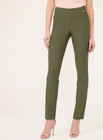 Straight Leg Bengaline Pull-On Pants, Green, hi-res