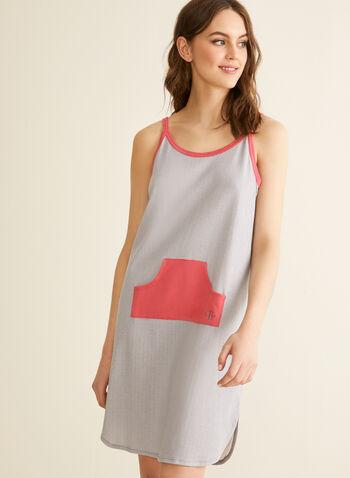 Claudel Lingerie - Chemise de nuit à poche, Gris,  printemps été 2020, chemise de nuit, pyjama, bretelles, sans manches, Claudel Lingerie