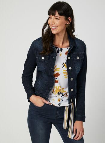Blossom - Veste courte en denim , Bleu, hi-res,  jean, jeans, manches longues, automne hiver 2019
